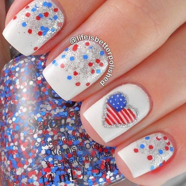 32 american flag stripes stars nails - 30+ American Flag Inspired Stripes and Stars Nail Ideas & Tutorials