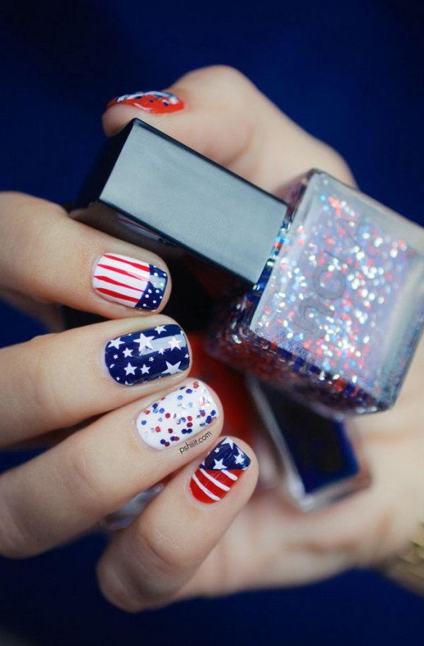 4 american flag stripes stars nails - 30+ American Flag Inspired Stripes and Stars Nail Ideas & Tutorials