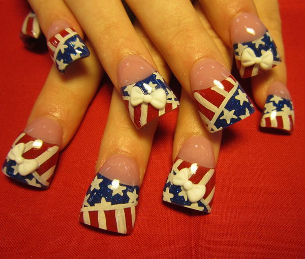 5 american flag stripes stars nails - 30+ American Flag Inspired Stripes and Stars Nail Ideas & Tutorials
