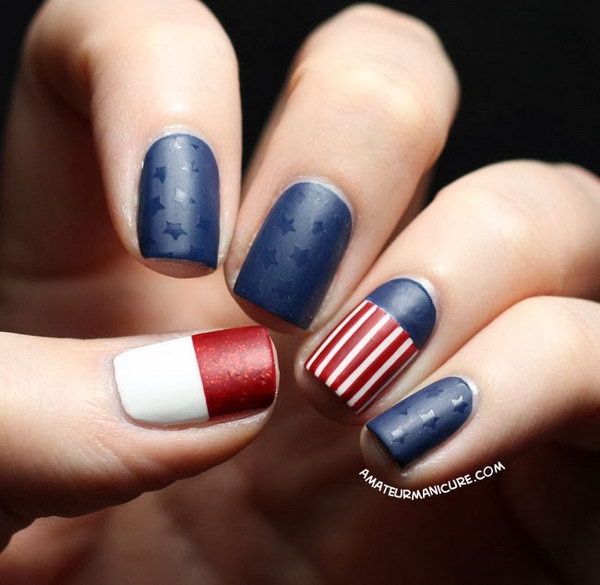 9 american flag stripes stars nails - 30+ American Flag Inspired Stripes and Stars Nail Ideas & Tutorials