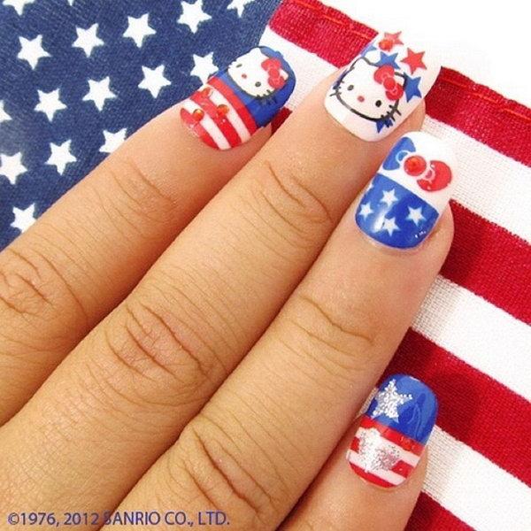 10 cute 4th of july patriotic nail art - 36 Cute 4th of July Patriotic Nail Art Ideas