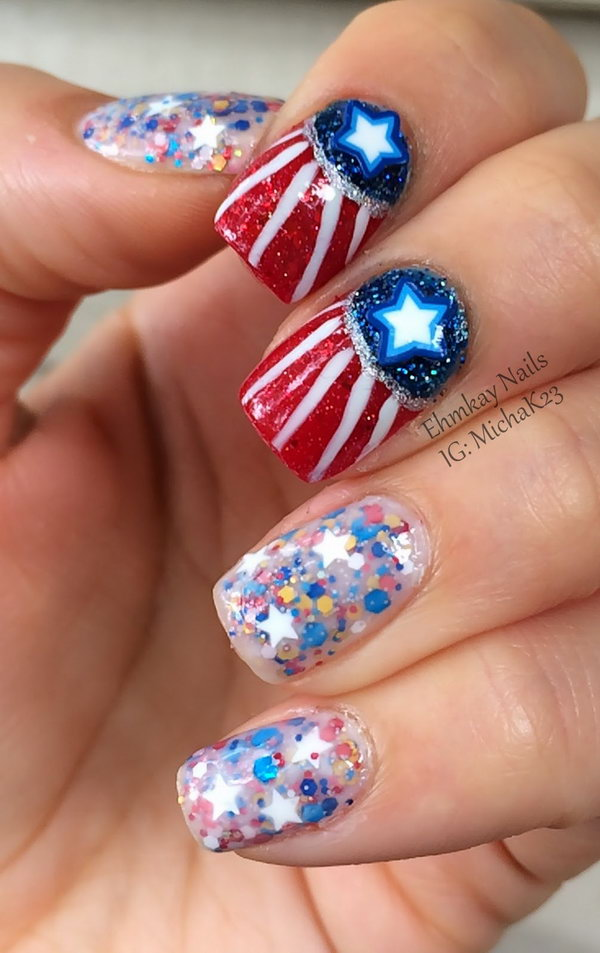1 glitter 4th of july nails - 20+ Glitter 4th of July Nail Art Ideas & Tutorials