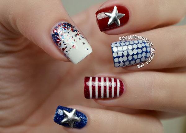 13 glitter 4th of july nails - 20+ Glitter 4th of July Nail Art Ideas & Tutorials