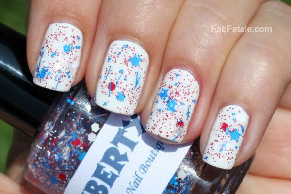 14 glitter 4th of july nails - 20+ Glitter 4th of July Nail Art Ideas & Tutorials
