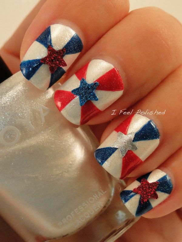 15 glitter 4th of july nails - 20+ Glitter 4th of July Nail Art Ideas & Tutorials
