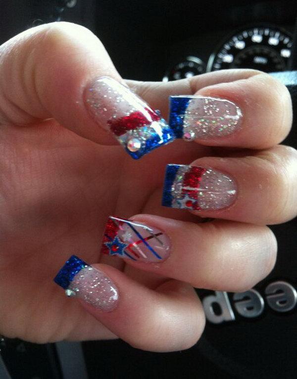 22 glitter 4th of july nails - 20+ Glitter 4th of July Nail Art Ideas & Tutorials