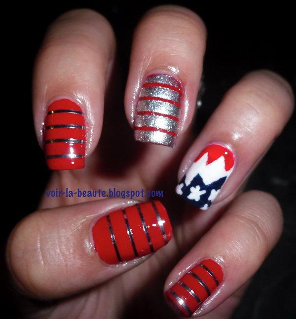 7 glitter 4th of july nails - 20+ Glitter 4th of July Nail Art Ideas & Tutorials