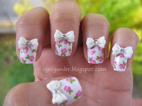 25 bow nail design ideas - 45 Wonderful Bow Nail Art Designs