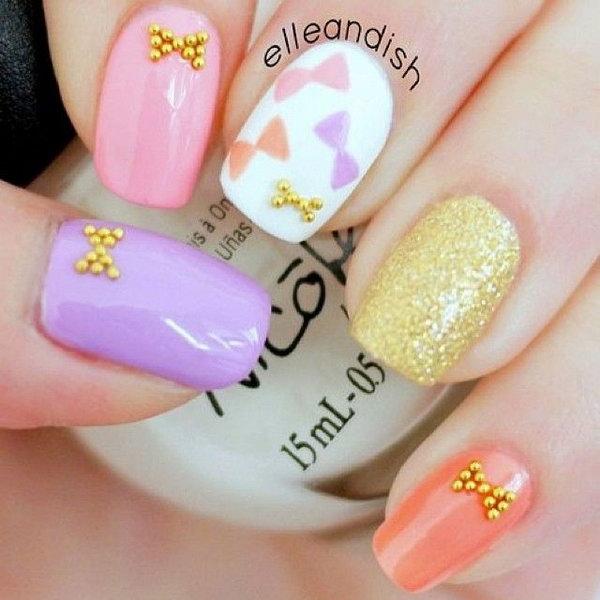 5 bow nail design ideas - 45 Wonderful Bow Nail Art Designs