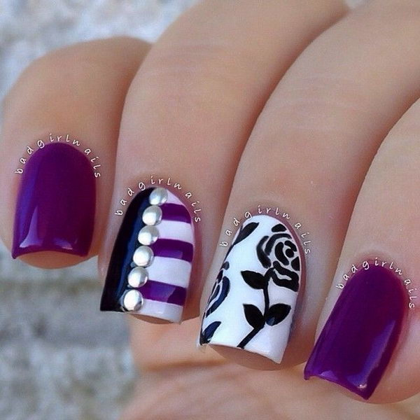 4 purple nail art designs - 30+ Trendy Purple Nail Art Designs You Have to See