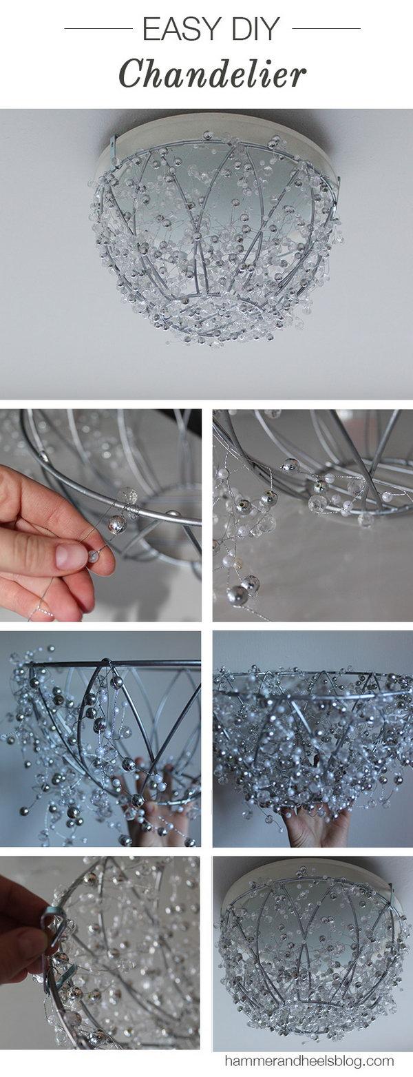 Diy Elegant Crystal Chandelier Create With A Hanging Plant Basket And Some Garlands
