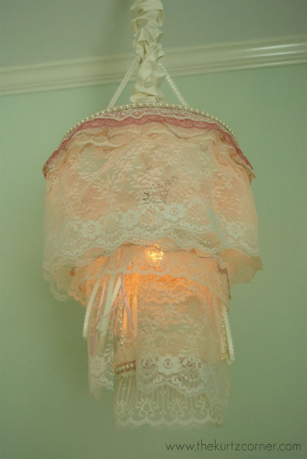 Diy Shabby Chic Lace Chandelier