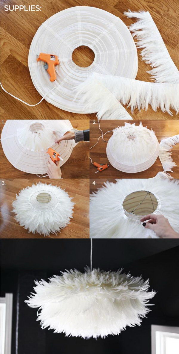 Diy Chic White Feather Chandelier