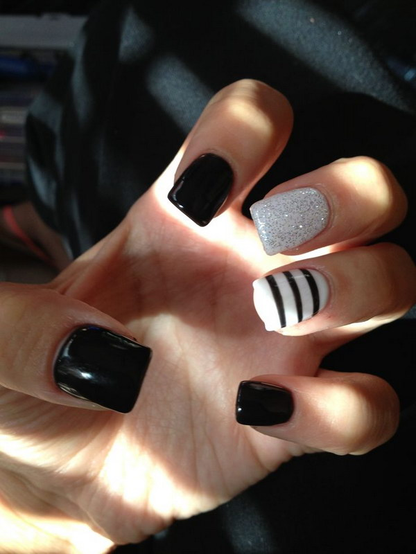 2 black and white nail designs - 80+ Black And White Nail Designs