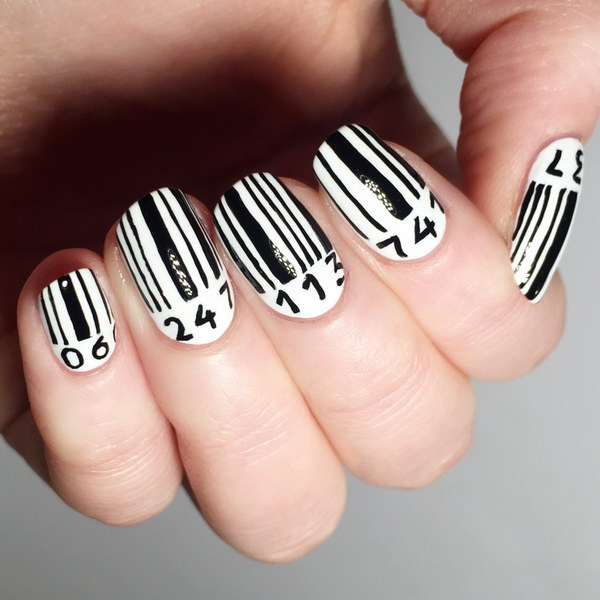 Cool Black And White Barcode Nail Art