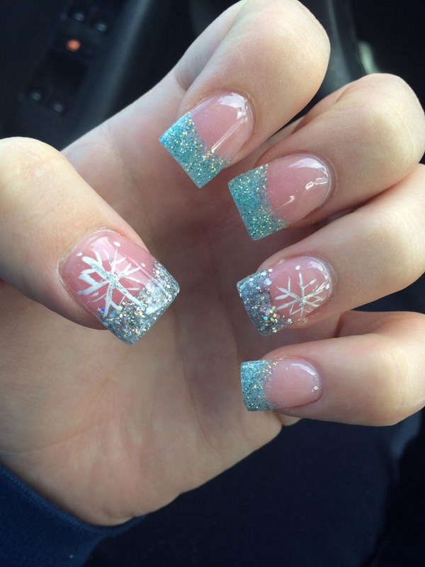 Beautiful Frozen Nails 17 Christmas Nail Art Designs