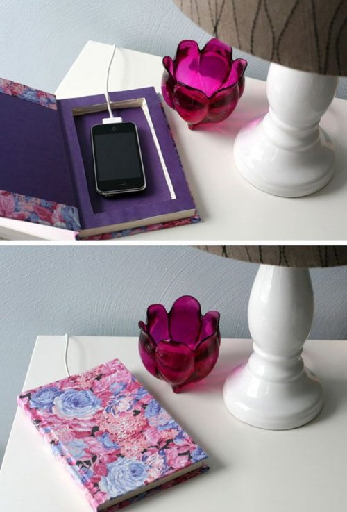 Books as Decoration Book Decor Hidden iPhone DIY Project Bedroom Nightstand Themed Table Decorations