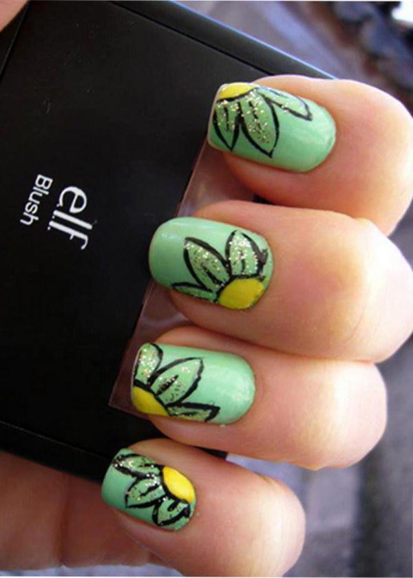 1 green nail art designs - 100+ Awesome Green Nail Art Designs