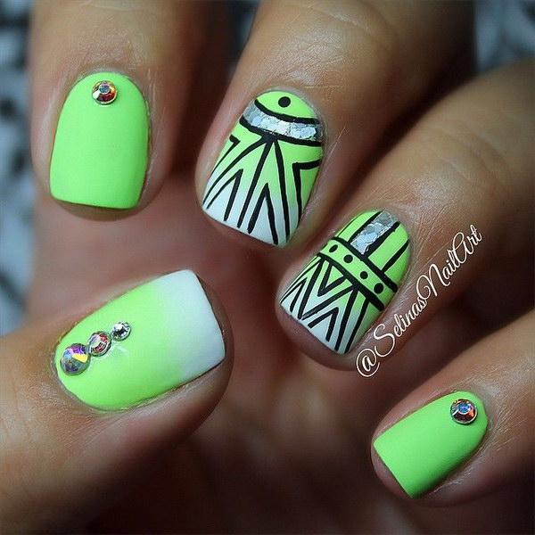 25 green nail art designs - 100+ Awesome Green Nail Art Designs