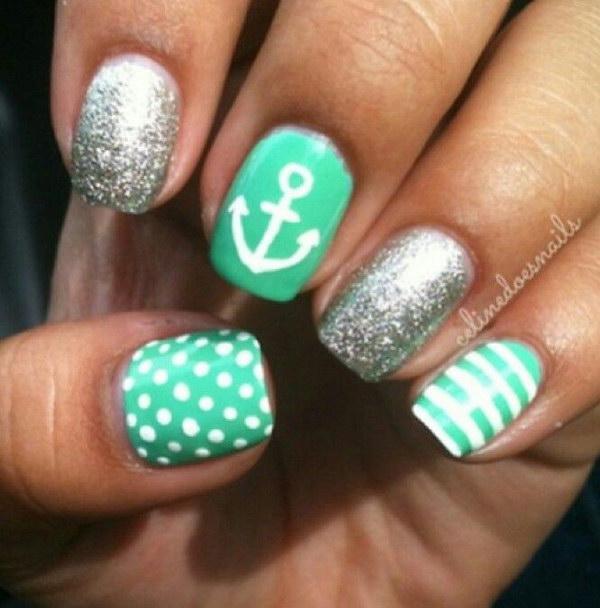 28 green nail art designs - 100+ Awesome Green Nail Art Designs