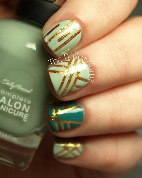 Green And Gold Geometric Nail Designs With Tape
