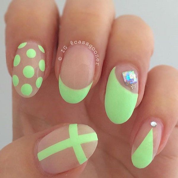 Cute Neon Green Nail Art With Polka Dot French Tip And Cross