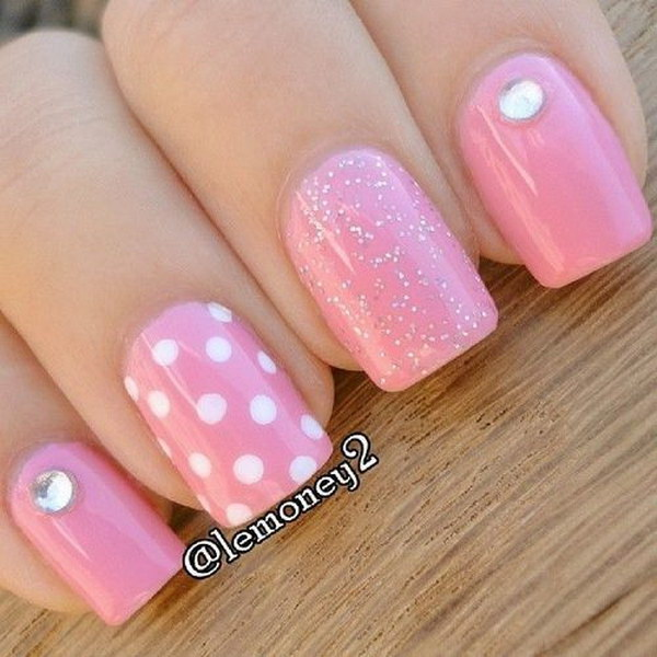 13 pink and white nail art designs - 50 Lovely Pink and White Nail Art Designs