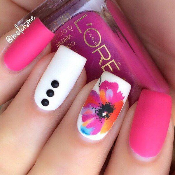 16 pink and white nail art designs - 50 Lovely Pink and White Nail Art Designs