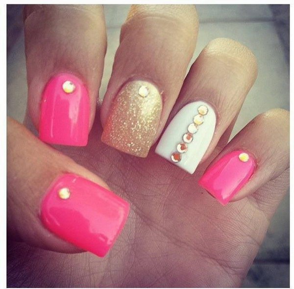 17 pink and white nail art designs - 50 Lovely Pink and White Nail Art Designs