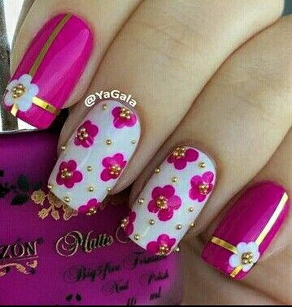 19 pink and white nail art designs - 50 Lovely Pink and White Nail Art Designs