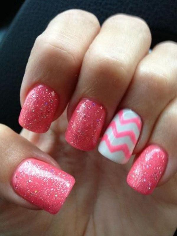 Pink And White Chevron Nail Design