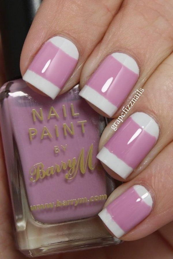 30 pink and white nail art designs - 50 Lovely Pink and White Nail Art Designs
