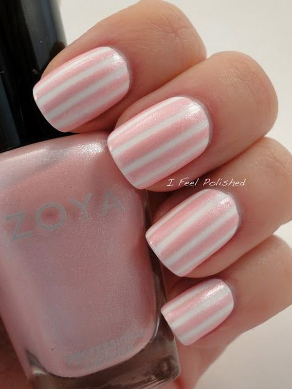 31 pink and white nail art designs - 50 Lovely Pink and White Nail Art Designs