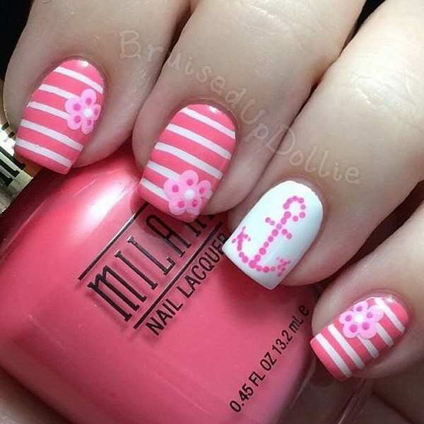 33 pink and white nail art designs - 50 Lovely Pink and White Nail Art Designs