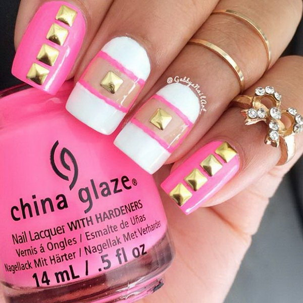 36 pink and white nail art designs - 50 Lovely Pink and White Nail Art Designs