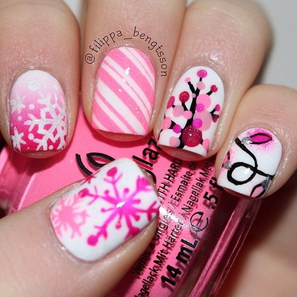 46 pink and white nail art designs - 50 Lovely Pink and White Nail Art Designs