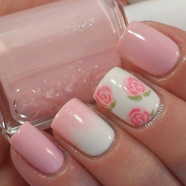 49 pink and white nail art designs - 50 Lovely Pink and White Nail Art Designs