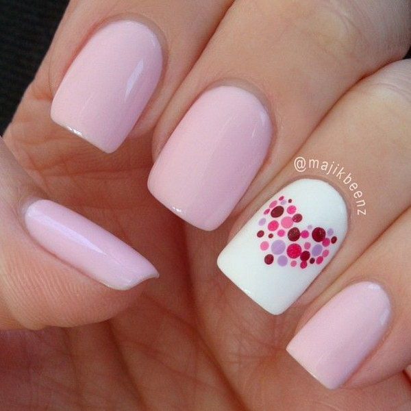 9 pink and white nail art designs - 50 Lovely Pink and White Nail Art Designs
