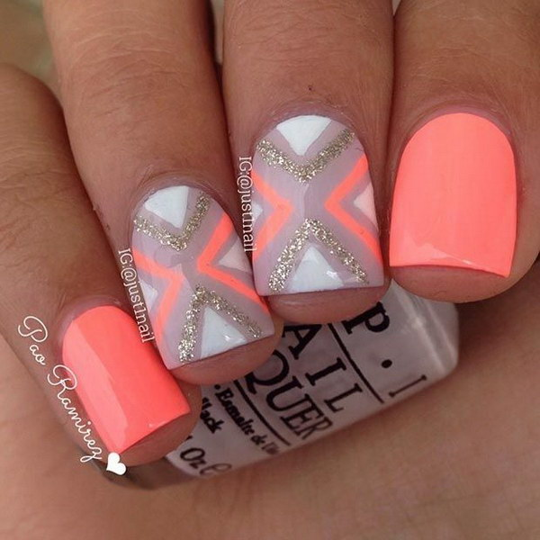 Pink And Blue Ombre Nails