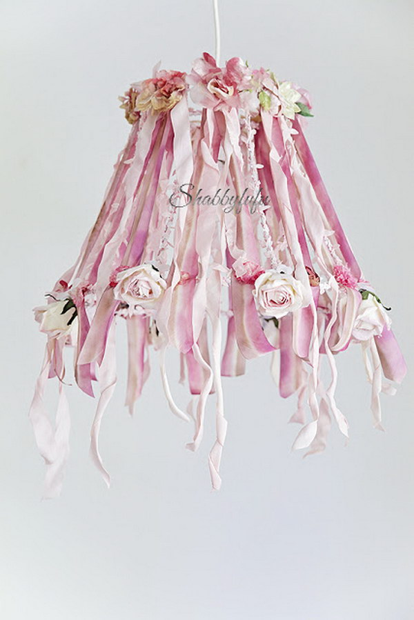 Diy Fancy Ribbon Lampshade Chandelier