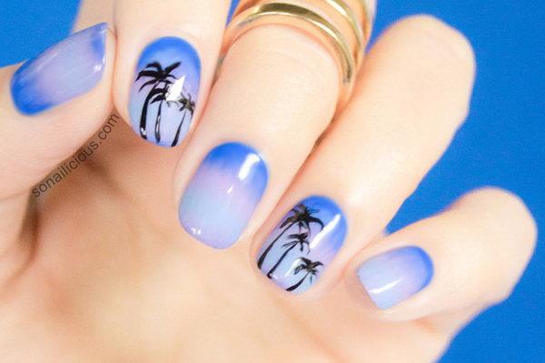 1 beach nail art - 30+ Beach Themed Nail Art Designs