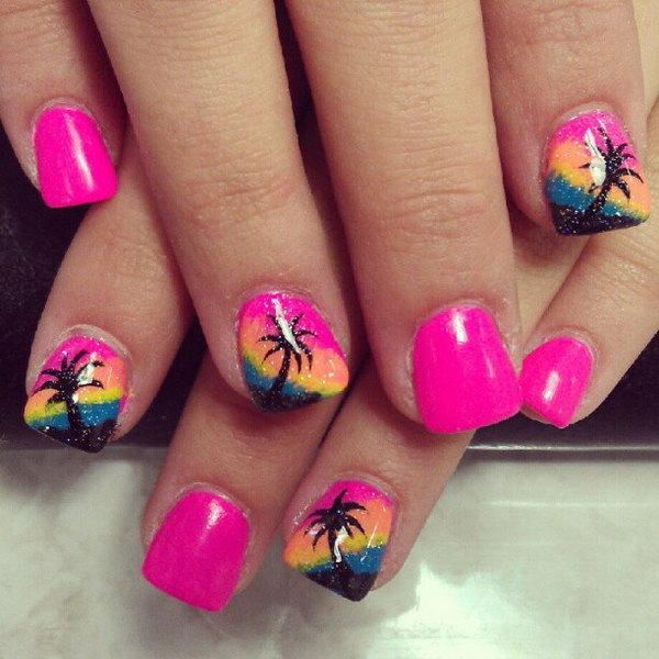 13 beach nail art - 30+ Beach Themed Nail Art Designs