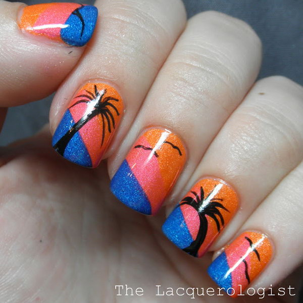 14 beach nail art - 30+ Beach Themed Nail Art Designs