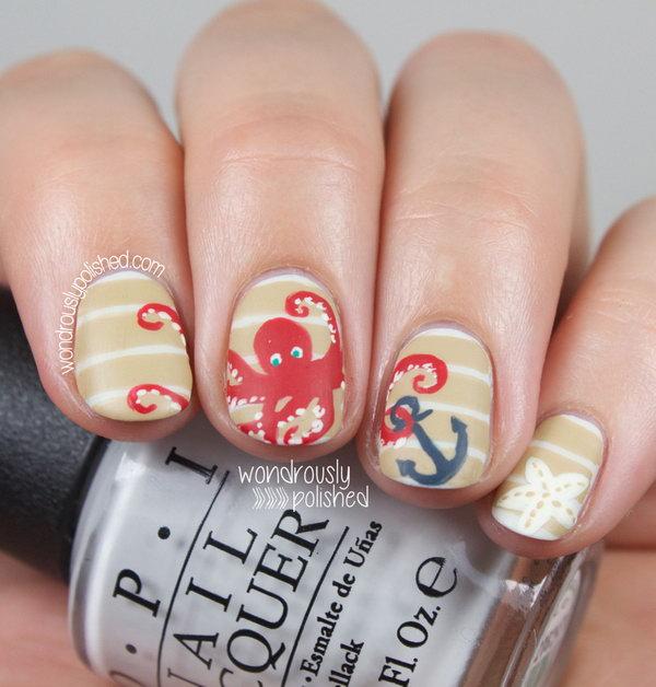 16 beach nail art - 30+ Beach Themed Nail Art Designs