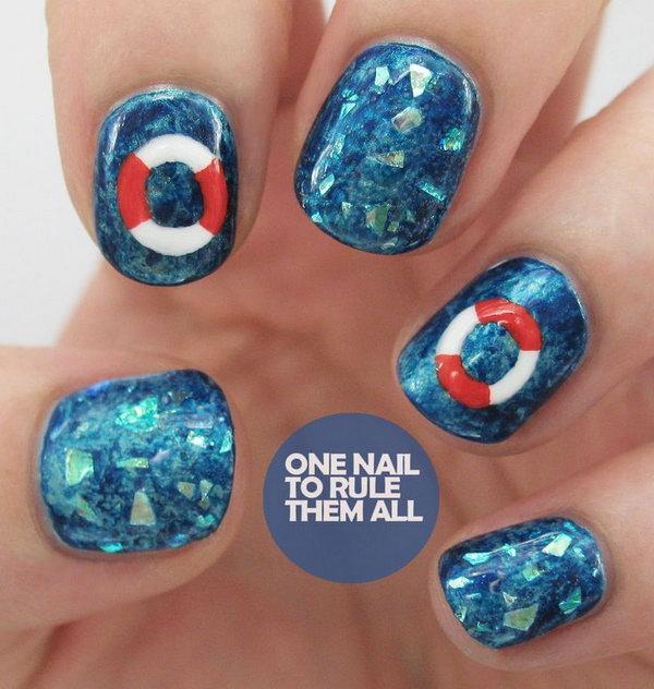 28 beach nail art - 30+ Beach Themed Nail Art Designs