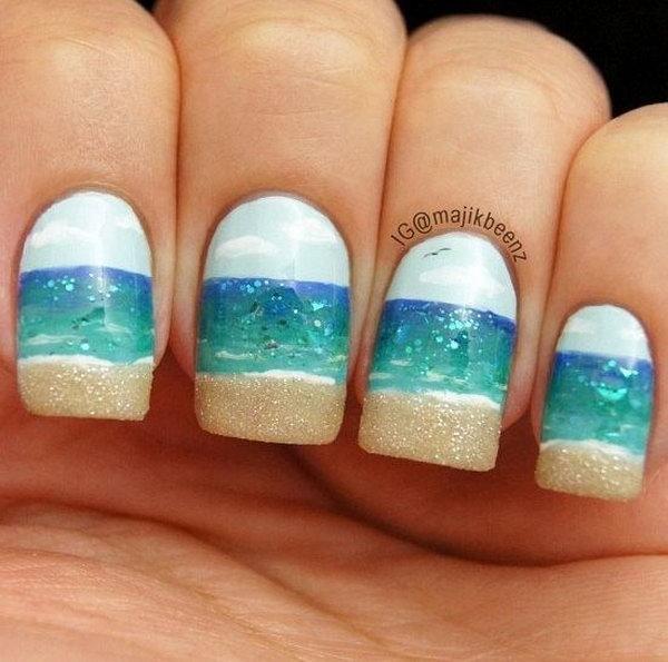 32 beach nail art - 30+ Beach Themed Nail Art Designs