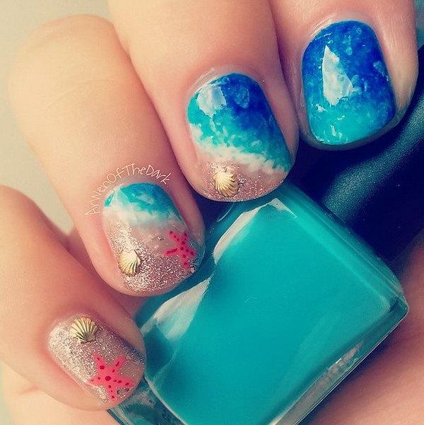 7 beach nail art - 30+ Beach Themed Nail Art Designs