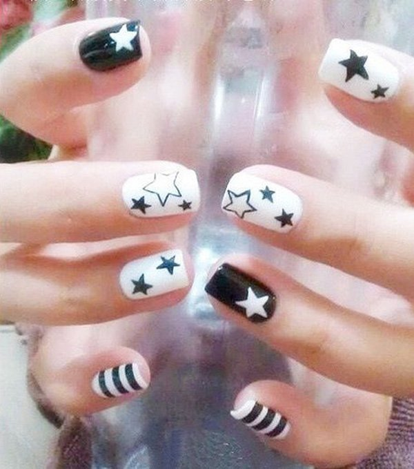 28 black and white nail art - Black and White Nail Art Designs – Perfect Match For Any Parties