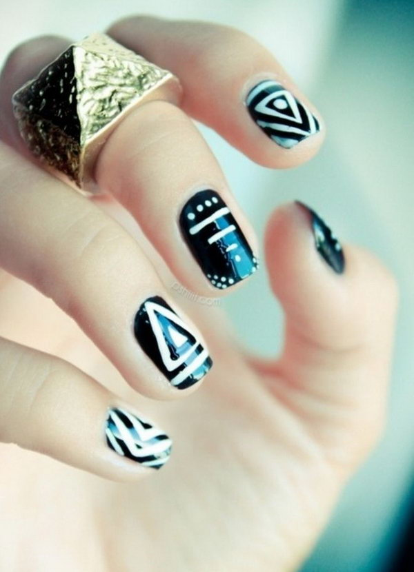 30 black and white nail art - Black and White Nail Art Designs – Perfect Match For Any Parties