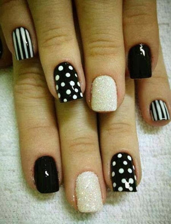 31 black and white nail art - Black and White Nail Art Designs – Perfect Match For Any Parties